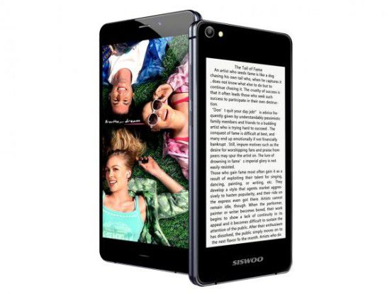 Das Siswoo R9 Darkmoon ist wie das Yotaphone mit einem zusätzlichen E-Ink-Display ausgestattet.
