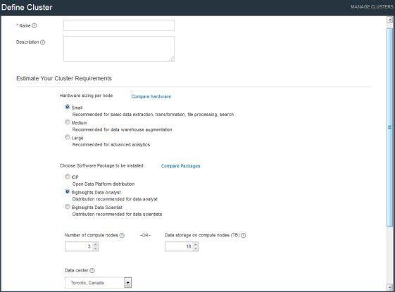 Beim Einrichten eines Hadoop-Clusters auf IBM Bluemix hat der Anwender die Wahl zwischen drei Cluster-Größen.