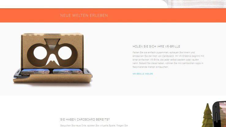 Für Google Cardboard benötigen Sie eine selbstgebastelte VR-Brille. Kartonbausatz und Android-Smartphone - fertig ist das 3D-Erlebnis. Mehr Infos erhalten Sie auf der Cardboard-Website.
