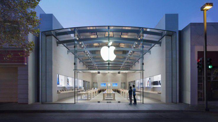 Der Apple Store in Palo Alto, Kalifornien. Im Silicon Valley entsteht gerade der neue Apple Campus in bewährtem Stil: großzügig, gläsern und modern.