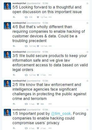 @sundarpichai äußerte sich via Twitter zu der Backdoor-Problematik.