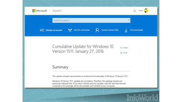 Microsofts Update-Informationen waren auch schon einmal ausführlicher...