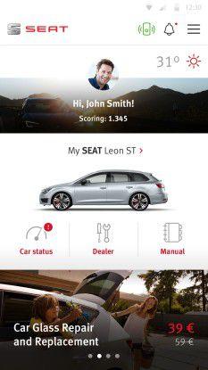 Aus einer Kooperation von Accenture und Seat stammt diese App für das vernetzte Auto.