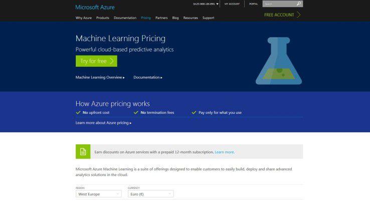 Website von Microsoft Azure ML Studio