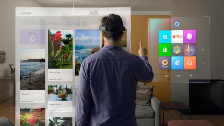 Nach den Versäumnissen bei Smartphones und Tablets will Intel wenigstens den Wearable-Zug (hier Microsoft Hololens) nicht verpassen.
