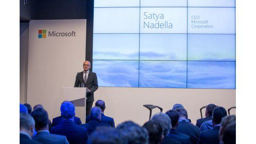 """Microsoft-Chef Satya Nadella bei der Präsentation der Deutschland-Cloud in Berlin im November 2015: """"Unser Ansatz besteht darin, eine hoch skalierbare Public Cloud aufzubauen."""""""