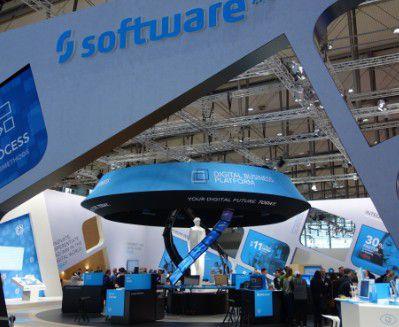 Ein futuristisches Konzept hat die Software AG in diesem Jahr für ihren Messestand gewählt (Aufnahme vor der CeBIT-Eröffnung).