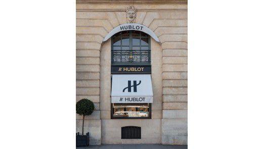 Total analog: Uhren im Hublot Shop in Paris.