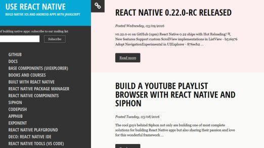 React Native kommt mit eigenem Entwicklerframework, um direkt plattformübergreifend arbeiten zu können.