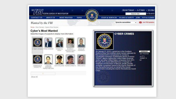 """Mit einer eigenen """"Most Wanted""""-Liste fahndet das FBI nach Cyber-Kriminellen."""