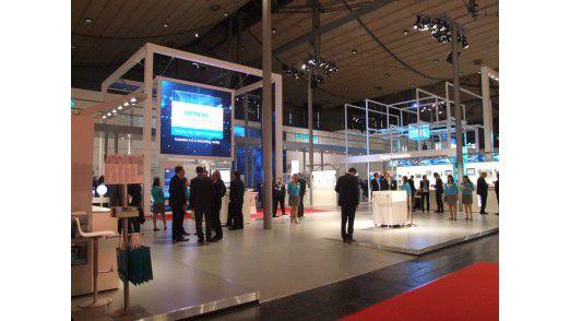 Klotzen statt Kleckern - der Siemens Messestand auf der HMI mit über 3.500 Quadratmetern.