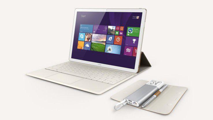 Huawei bringt mit dem MateBook (Foto mit Dock) sein erstes Hybrid-Tablet in den Handel.