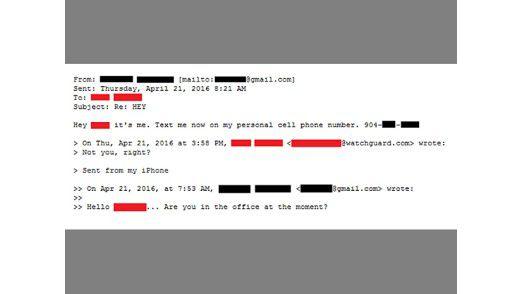 Die Kontaktaufnahme per Mail erfolgt eher beiläufig - achten Sie daher unbedingt auf fehlende Signaturen oder merkwürdige Absenderadressen (hier unkenntlich gemacht).