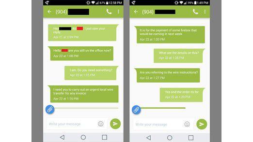 """Via SMS versucht der Betrüger sein """"Opfer"""" dazu zu bringen, eine größere Summe zu überweisen."""