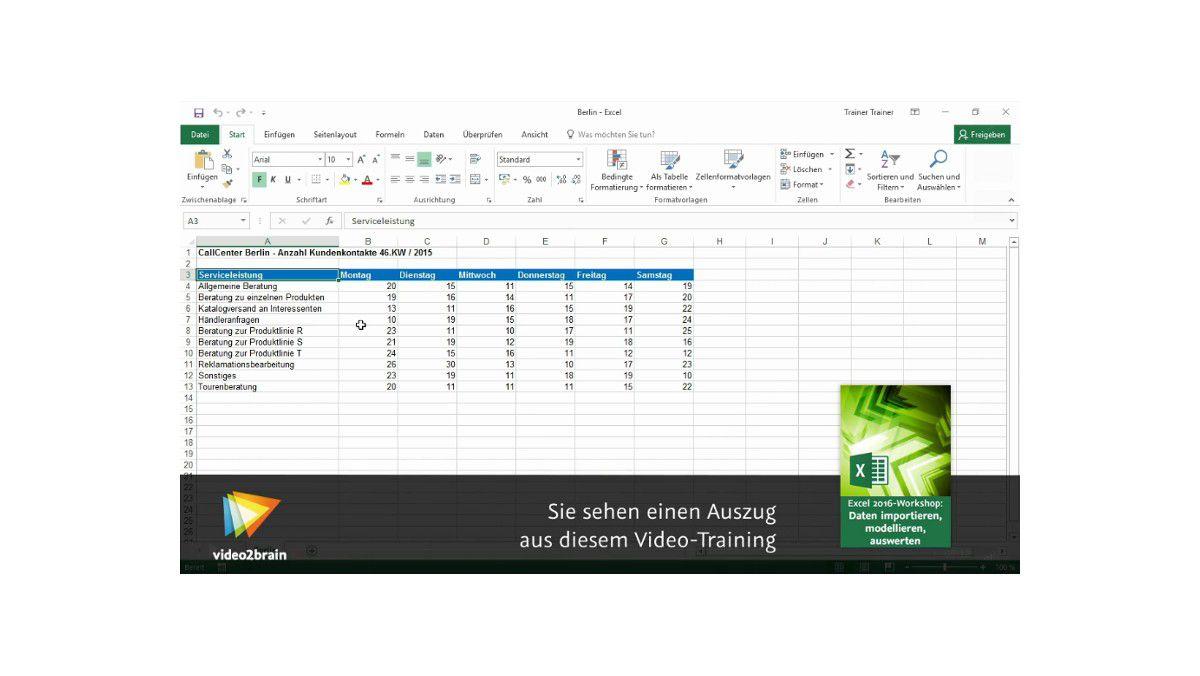 Videotraining: Excel 2016 - Daten aus zwei Arbeitsmappen ...