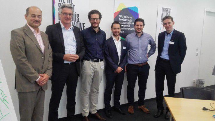"""Beim Business Breakfast """"HR meets Personaler"""" trafen sich: (v.l.) Hans Königes (Computerwoche), Andreas Maron (Franklin Covey), Simon Werther (HR Instruments), Christian Vetter (HR Forecast), Carl Hoffmann (Talentry) und Jonas Triebel (IDG)."""