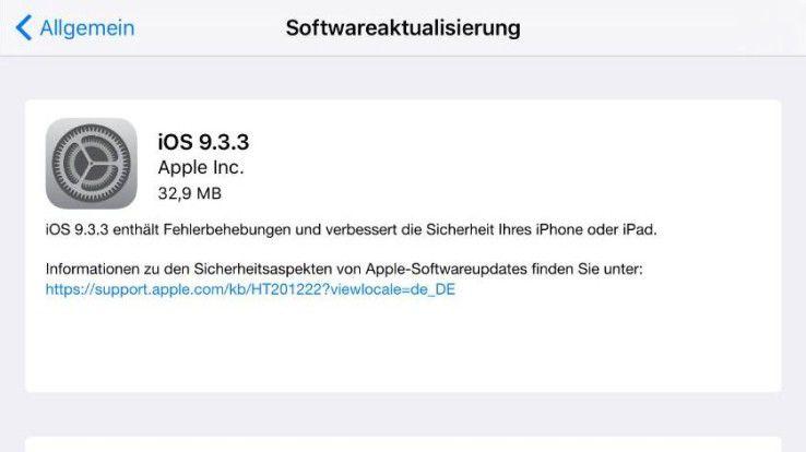 Bei iOS 9.3.3 handelt es sich voraussichtlich um die letzte Version von iOS 9, bevor im Herbst iOS 10 zusammen mit dem iPhone 7 veröffentlicht wird.