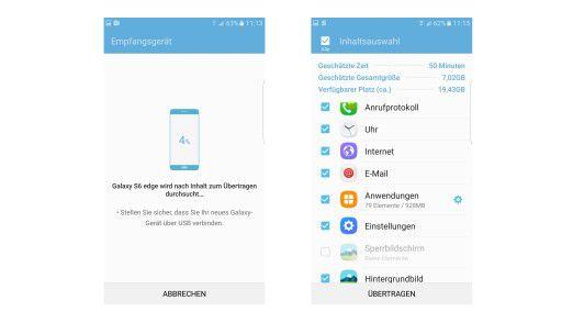 Mit Smart Switch und dem USB Connector übertragen ganz einfach Inhalte des alten Handys auf das neue S7.