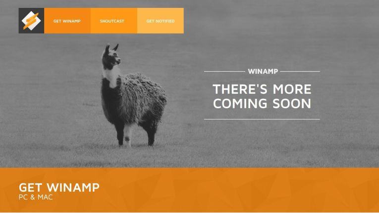 Die Winamp-Website im Jahr 2017. Stillstand?