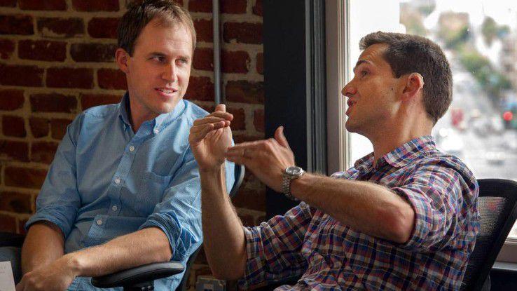 Die beiden Quip-Gründer Bret Taylor (li.) und Kevin Gibbs (re.) verkaufen ihr 2012 gegründetes Unternehmen an Salesforce.