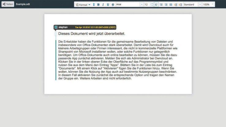 Es gibt ein rudimentäres Set an Funktionen, um Office-Dateien direkt zu bearbeiten.