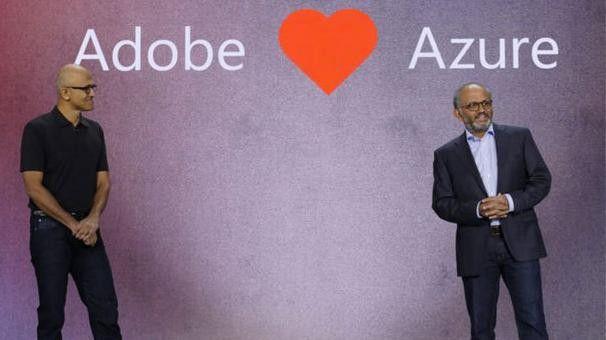 Adobe mag Azure: Microsoft-Chef Satya Nadella und Adobe-CEO Shantanu Narayen wollen künftig enger zusammenarbeiten.
