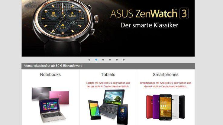 Asus Smartphones und Tablets mit Android 5 und höher sind in Duetschland derzeit bei Asus nicht erhältlich. Angeblich sind Patentprobleme der Grund.