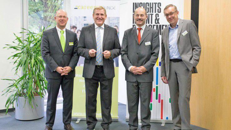 Jürgen Bockholdt ( Careers Lounge), Edgar Geffroy, CW-Redakteur Hans Königes und CW-Chefredakteur Heinrich Vaske.