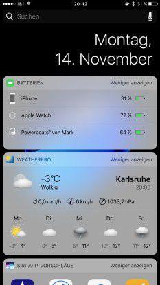 Auch im Batterie-Widget von iOS 10 hat Apple an den Support für die drahtlosen Kopfhörer gedacht.