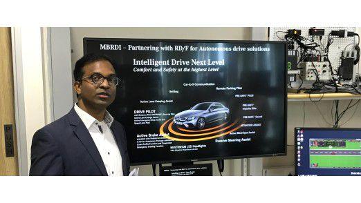 Versuchsaufbau im Testlabor: Das MBRDI beschäftigt sich auch mit dem Thema Autonomes Fahren