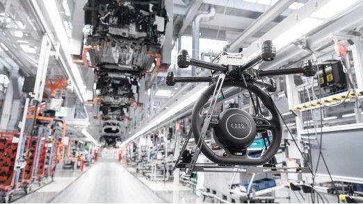 Drohne in der Autoproduktion bei Audi