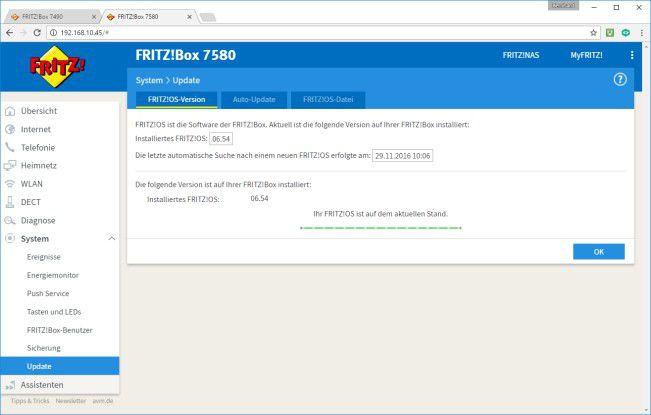 Fritz!Box: Ein Firmware-Update lässt sich einfach per Web-Interface durchführen oder auch manuell per Image-Datei aufspielen.