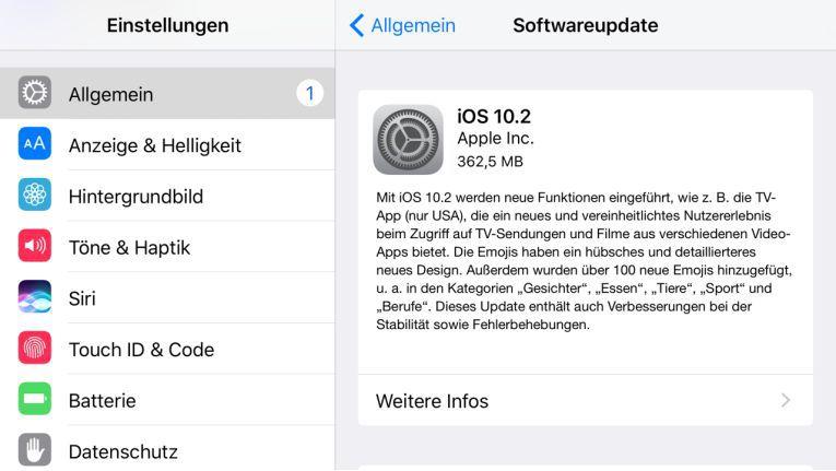 iOS 10.2 steht für neuere iPhones und iPads zum Download bereit.