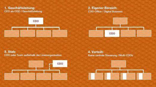 CDOs werden sehr unterschiedlich in die Unternehmensorganisation eingebunden. Einige große Firmen haben mehrere CDO-Stellen eingerichtet.