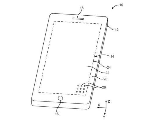 Im US-Patent 9,543,364 wird ein elektronisches Gerät beschrieben, dessen Display-Panel von mikroskopisch kleinen und für Nutzer unsichtbaren Löchern durchsetzt ist.