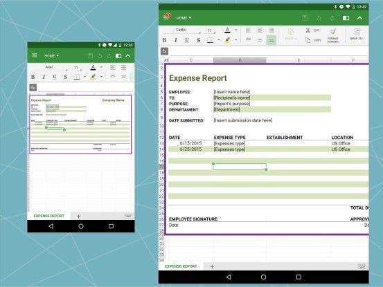 Auch bei der Tabellenbearbeitung kann die OfficeSuite in punkto User-Experience nicht mit Microsoft mithalten.