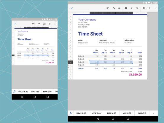 Google Tabellen auf Smartphone und Tablet