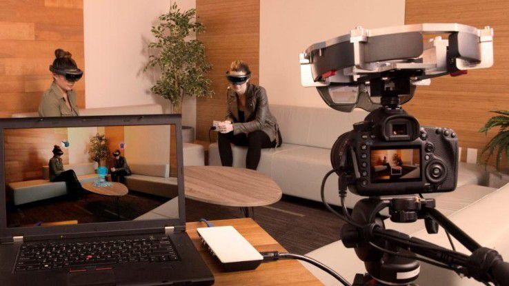 Microsoft Hololens: Aufnahmen mit der neuen Spectator-View-Vorrichtung.