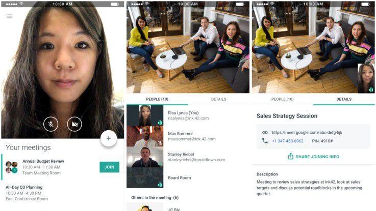 Hangouts Meet hält Audio- und Videokonferenzen für Business-Kunden bereit.