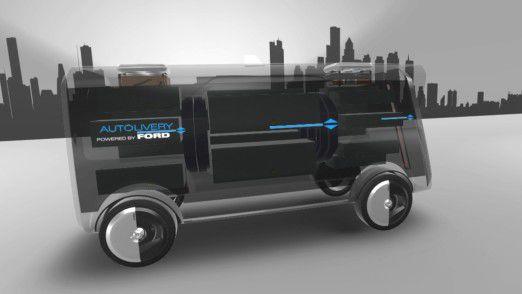 Bei Autolivery erfolgt der Zustellprozess durch einer Kombination aus einem autonom fahrenden Lieferwagen und einer Drohne.