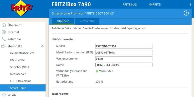 Die Fritz Dect 300 im Frontend der Fritzbox.