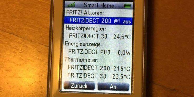 Auch von einem Fritzfon aus können Sie Dect 200 und Dect 210 sowie die Dect 300 steuern.