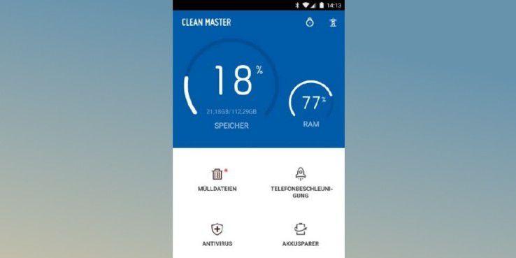 """Die App """"Clean Master"""" ist einfach zu bedienen und leicht verständlich – trotzdem sehr wirkungsvoll."""