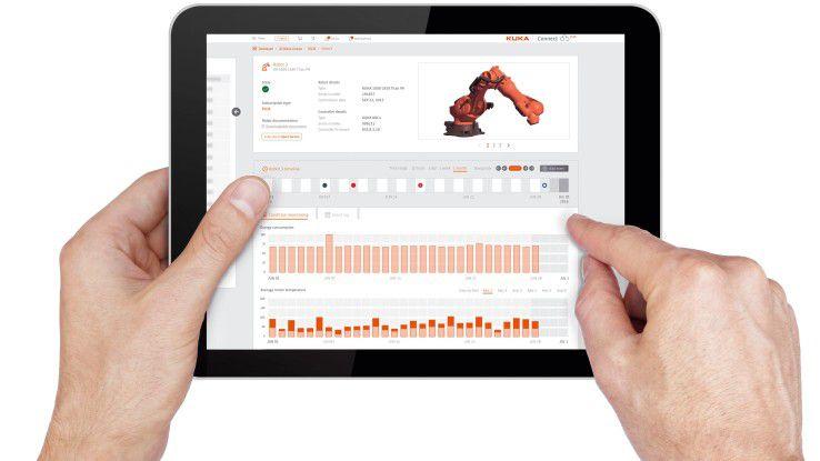 Mit Kuka Connect kann ein Roboter per Tablet gesteuert werden.