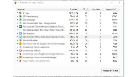 Google Chrome verfügt über einen eigenen Taskmanager, der einzelne Tabs beenden kann.