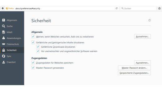 Mozilla Firefox sichert die gespeicherten Zugangsdaten mit einem Masterkennwort.