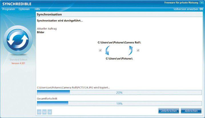 Mit der Freeware Synchredible erhalten Sie die ideale Lösung zur Synchronisation Ihrer Daten.