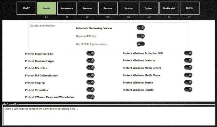 """Im Bereich """"Presets"""" geben Sie an, welche Funktionen und Komponenten keinesfalls durch das Programm verändert werden dürfen."""