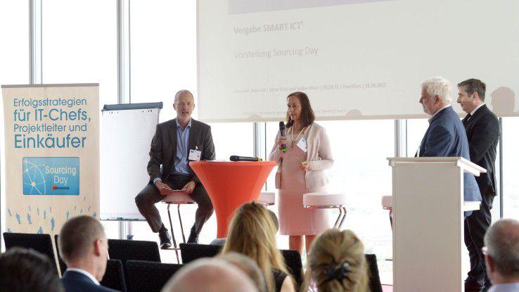 Sylvia Klick und Volker Muhr von der Deutschen Bahn diskutierten gemeinsam mit den Teilnehmern ihre Erfahrungen zum Einsatz spieltheoretischer Elemente bei Vergabeprozessen.