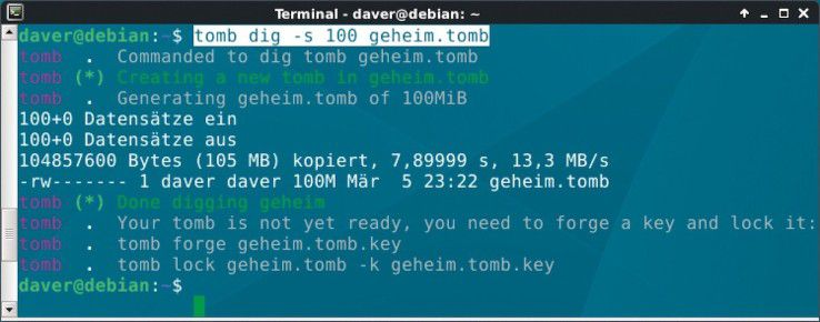 Tombs sind Imagedateien, die als verschlüsselte Container ein eigenes Ext4-Dateisystem enthalten.
